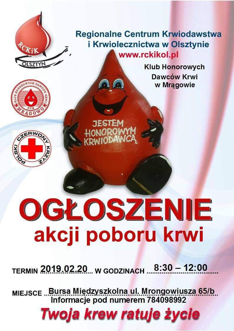 Ogłoszenie akcji poboru krwi - 20.02.2019r.
