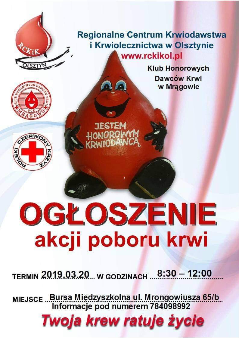 Ogłoszenie akcji poboru krwi - 20.03.2019r.